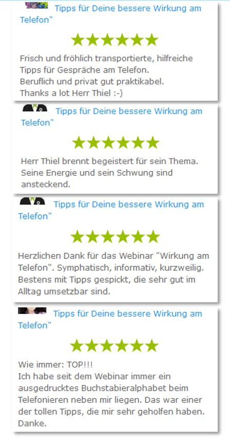 Referenzen Frank Thiel Webinar Telefontraining